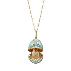 Fabergé Heritage Yellow Gold Turquoise Guilloché Enamel Hen Surprise Locket