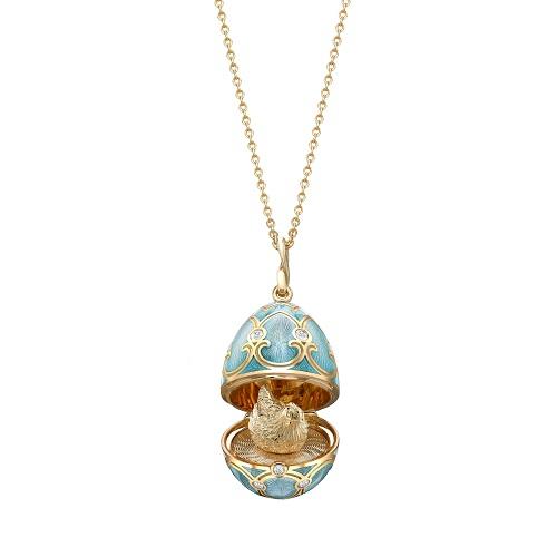 Fabergé Heritage Yellow Gold Turquoise Guilloché Enamel Hen Surprise Locket
