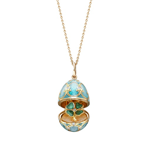 Fabergé Heritage Yellow Gold Turquoise Guilloché Enamel Clover Surprise Locket