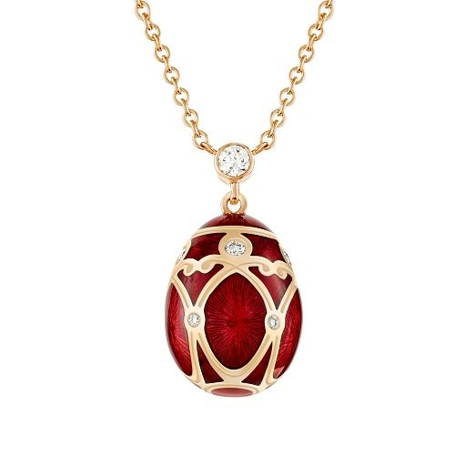 Fabergé Heritage Yellow Gold Red Guilloché Enamel Petite Egg Pendant