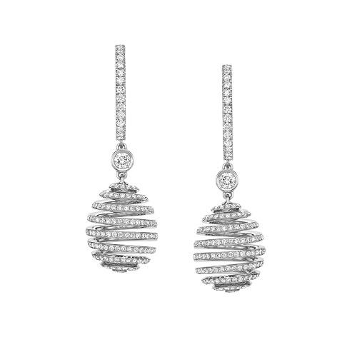 Fabergé Essence White Gold Diamond Pavé Spiral Egg Drop Earrings