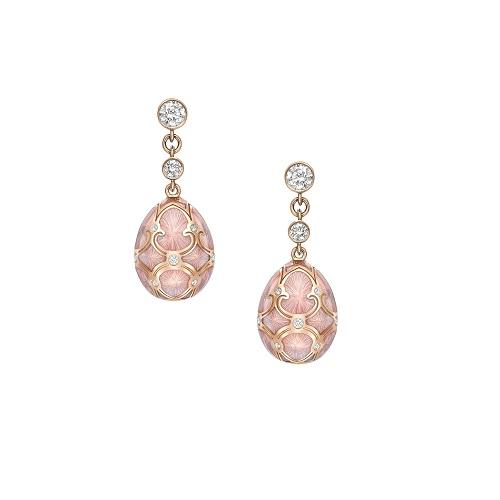 Fabergé Heritage Rose Gold Pink Guilloché Enamel Egg Drop Earrings