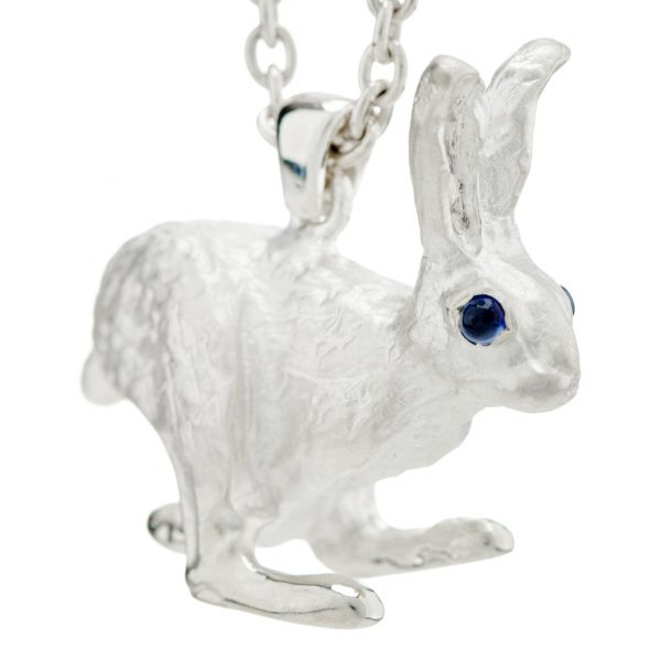 Sterling Silver Hare With Sapphire Eyes Pendant In Matte Finish and Chain