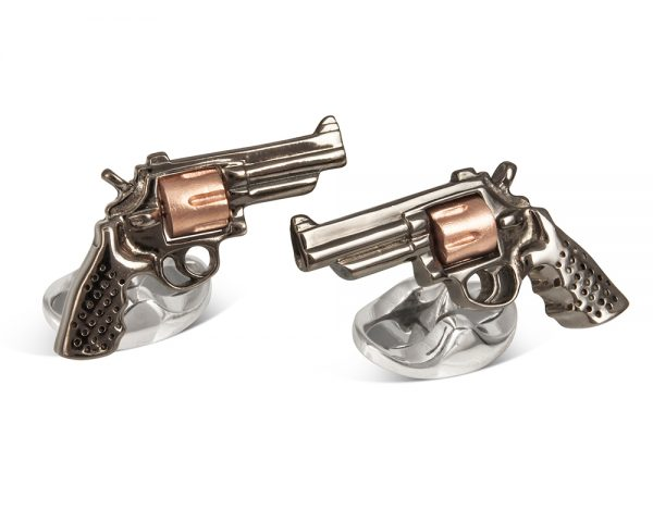 Sterling Silver Revolver Gun Cufflinks In Black With Rose Gold Cylinder