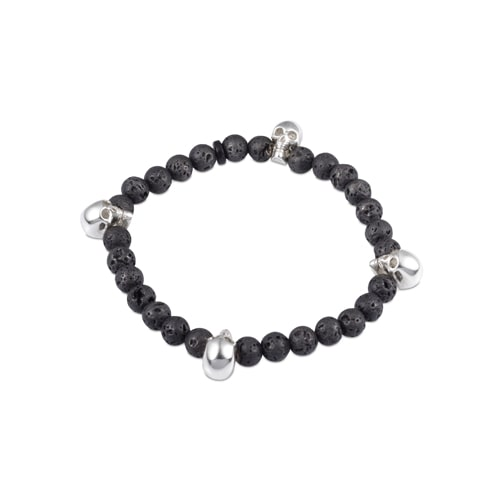 Black Lava Bead Stretch Bracelet with Silver Skulls