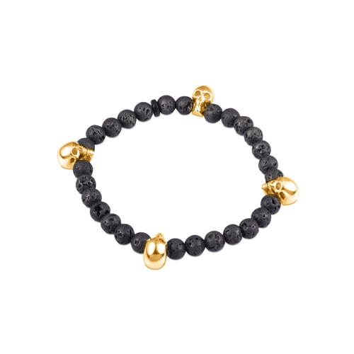 Black Lava Bead Stretch Bracelet with Rose Gold Plate Skulls