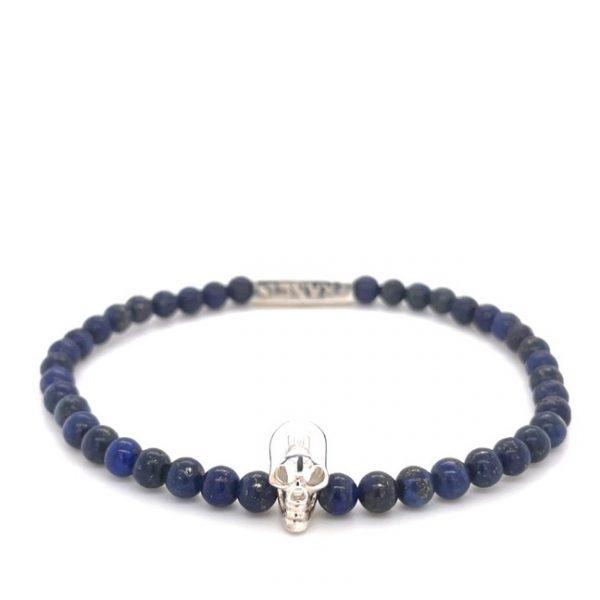 Lapis Lazuli Bead Stretch Bracelet with Silver Skull