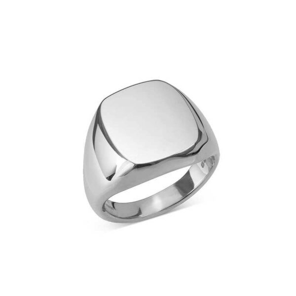Sterling Silver Cushion Signet Ring (16.5X15MM)