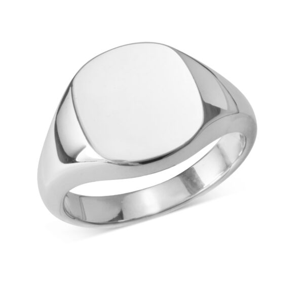 Sterling Silver Cushion Signet Ring (12x12mm)