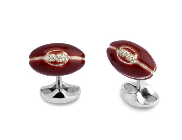 Sterling Silver Enamel Rugby Ball Cufflinks