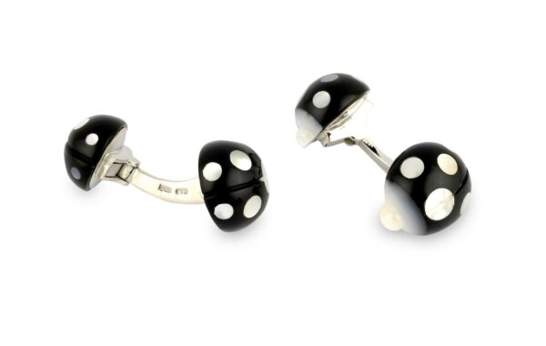 18ct White Gold Onyx And Mother of Pearl Ladybird Cufflinks