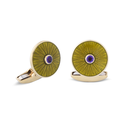 18ct Yellow Gold Olive Green Enamel Cufflinks With Amethyst Centre