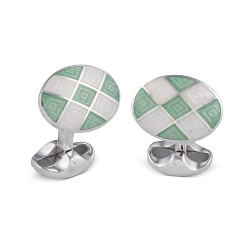 Sterling Silver Plain Green And Clear Enamel Cufflinks
