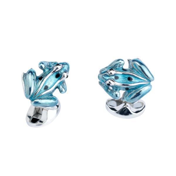 Sterling Silver Sky Blue Enamel Frog Cufflinks