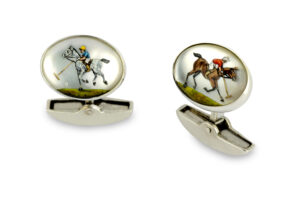 18ct White Gold Hand-painted Rock Crystal Polo Player Cufflinks