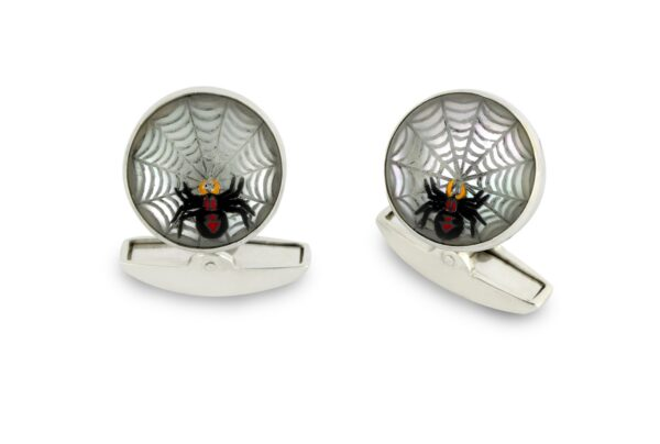 18ct White Gold Hand-painted Rock Crystal Spider Web Cufflinks