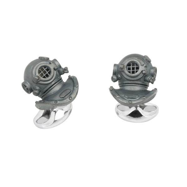Sterling Silver Oxidised Diving Helmet Cufflinks