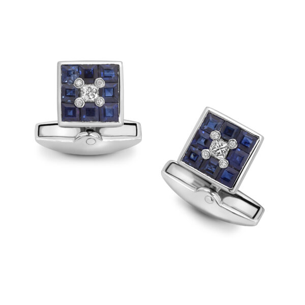 18ct White Gold Sapphire And Diamond Small Square Cufflinks