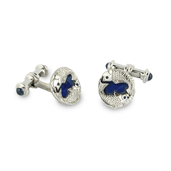 18ct White Gold Fish Cufflinks With Blue Enamel And Sapphire Ends