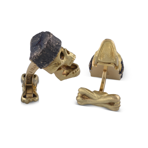 18ct Yellow Gold Skull Cufflinks With Russian Hat