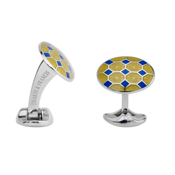 Sterling Silver Yellow and Blue Enamel Pattern Cufflinks