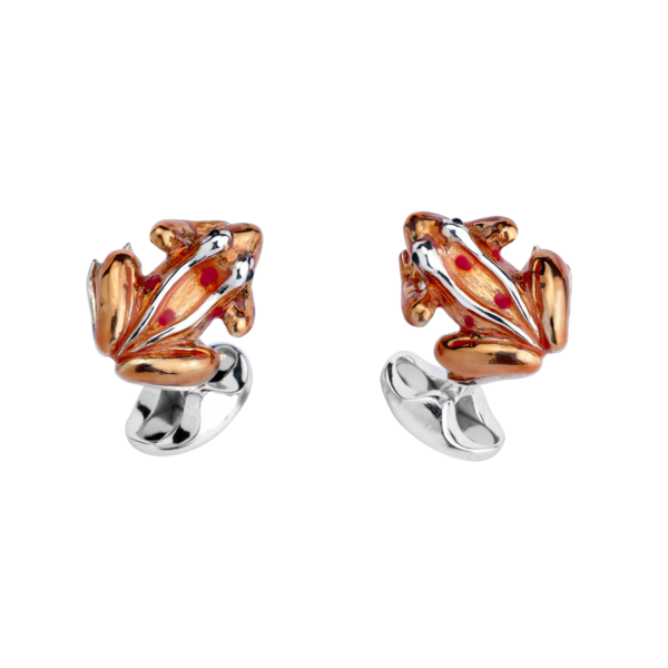 Sterling Silver Orange And Red Enamel Frog Cufflinks