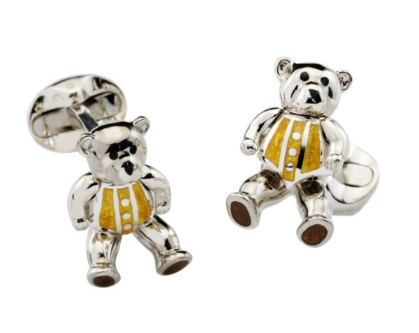 Sterling Silver Moveable Yellow Teddy Bear Cufflinks