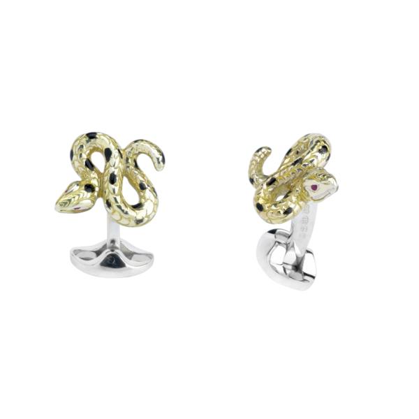 Sterling Silver Yellow and Black Enamel Snake Cufflinks