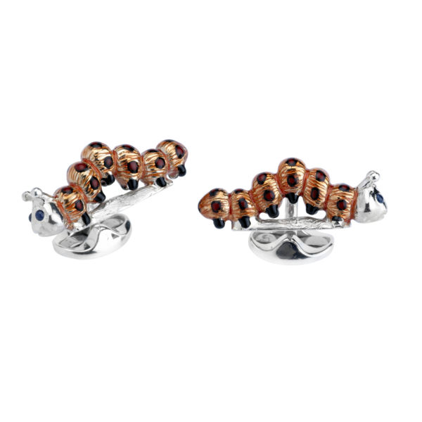 Sterling Silver Orange and Red Enamel Caterpillar Cufflinks