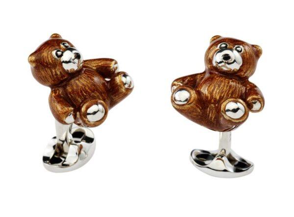 Sterling Silver Brown Enamel Teddy Bear Cufflinks