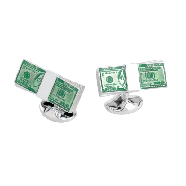 Sterling Silver Dollar Bill Cufflinks