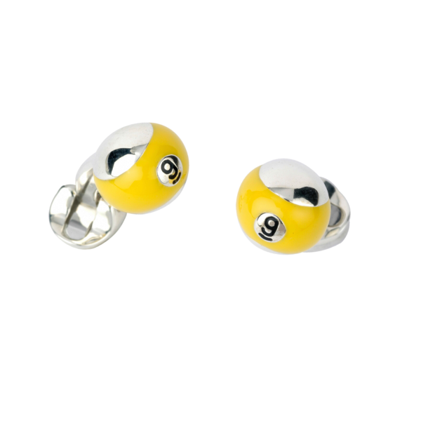 Sterling Silver Yellow Pool Ball Cufflinks