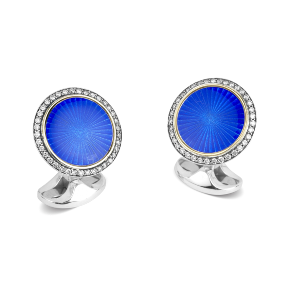 Sterling Silver & 18ct Yellow Gold Cufflinks With Blue Enamel Centre and Diamond Border