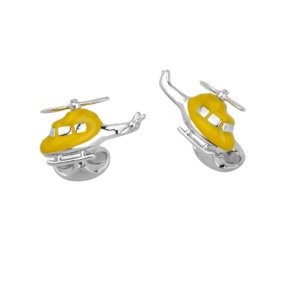 Sterling Silver Yellow Enamel Helicopter Cufflinks