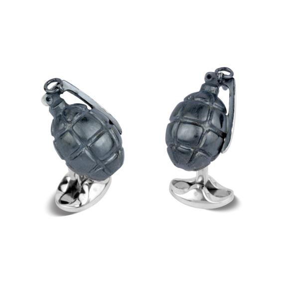 Sterling Silver Hand Grenade Cufflinks