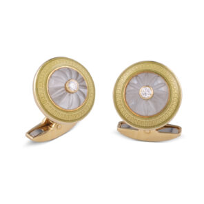 18ct Yellow Gold Crystal Cufflinks With Diamond Centre