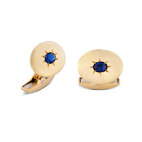 18ct Yellow Gold Oval Cufflinks With Sapphire Centre