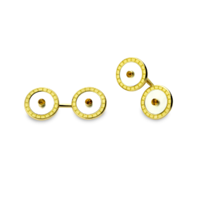 18ct Gold Mother-Of-Pearl Cufflinks With Yellow Enamel And Citrine Centre