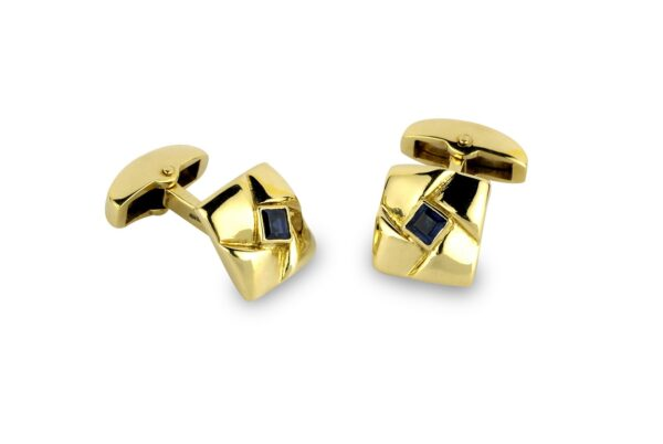 18ct Yellow Gold Square Knot Cufflinks With Sapphire Centre