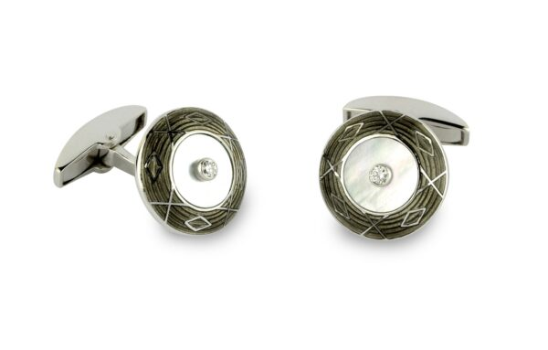18ct White Gold Mother-Of-Pearl, Grey Enamel And Diamond Cufflinks