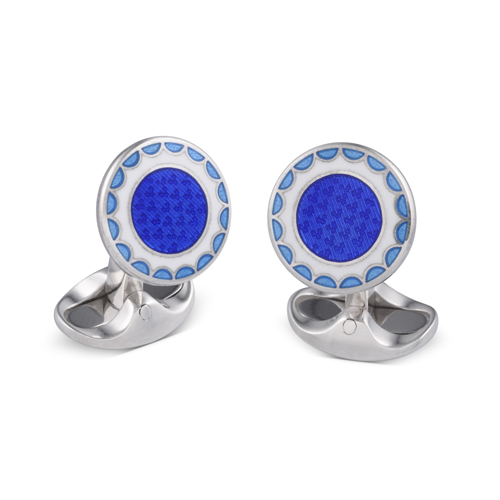 Sterling Silver Denim Blue, Royal Blue and White Enamel Round Cufflinks