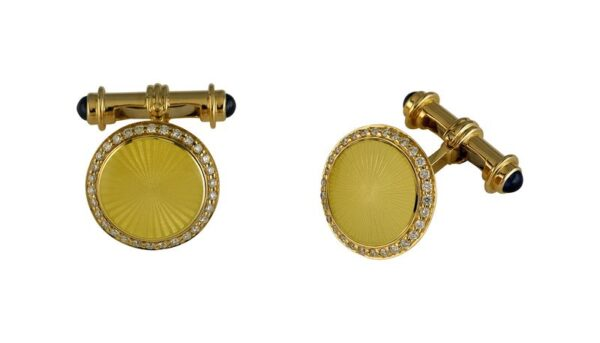 18ct Yellow Gold Cufflinks With Diamond Border And Sapphire Dumbell Reverse