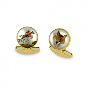18ct Yellow Gold Hand-Painted Rock Crystal Fox And Hunter Cufflinks
