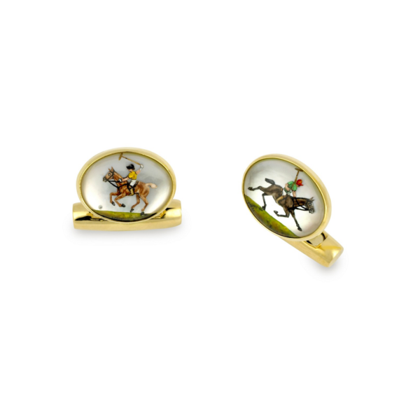 18ct Yellow Gold Hand-Painted Rock Crystal Polo Player Cufflinks
