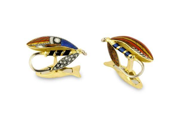18ct Yellow Gold Fly Fishing Cufflinks