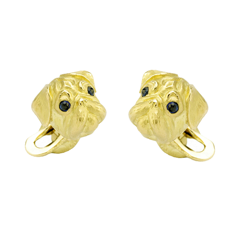 18ct Yellow Gold Pug Cufflinks With Sapphire Eyes