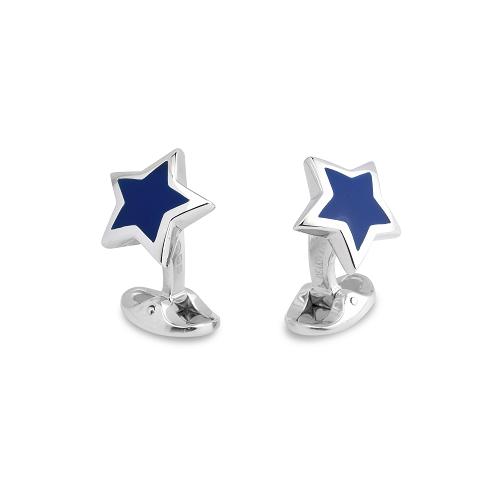 Sterling Silver Blue Enamel Star Cufflinks