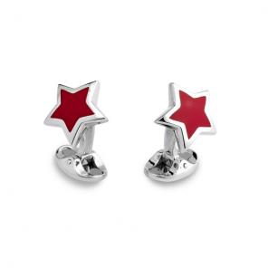 Sterling Silver Red Enamel Star Cufflinks