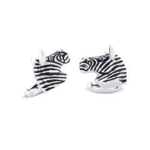 18ct White Gold Zebra Head Cufflinks With Sapphire Eyes