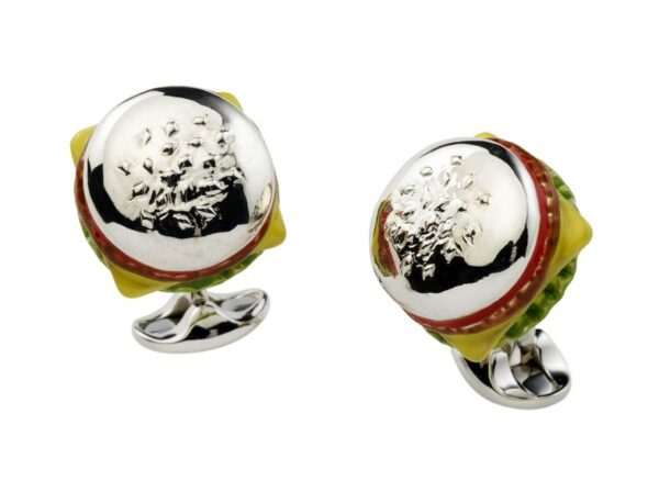 Sterling Silver Burger Cufflinks